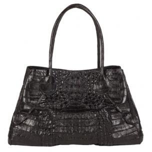 Zelli Gia Large Genuine Crocodile Handbag Black Image