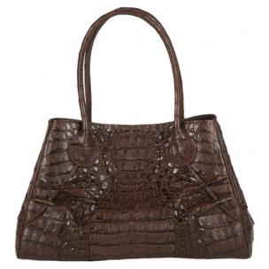 Zelli Gia Large Genuine Crocodile Handbag Brown Image