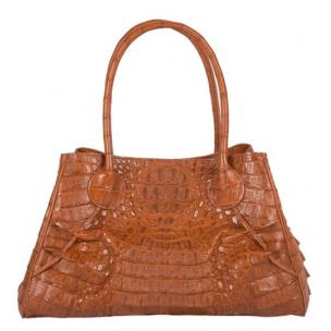 Zelli Gia Large Genuine Crocodile Handbag Cognac Image