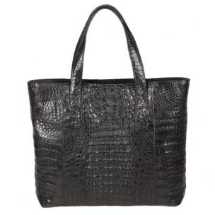 Zelli Isla Genuine Crocodile Tote Bag Black Image