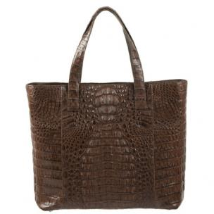 Zelli Isla Genuine Crocodile Tote Bag Brown Image