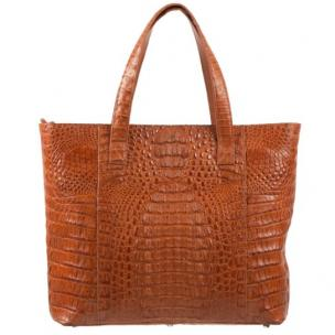 Zelli Isla Genuine Crocodile Tote Bag Cognac Image