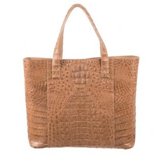 Zelli Isla Genuine Crocodile Tote Bag Natural Image