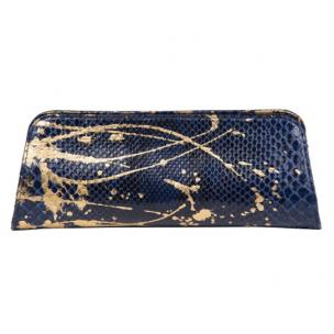 Zelli Kate Genuine Python Clutch Navy / Gold Image