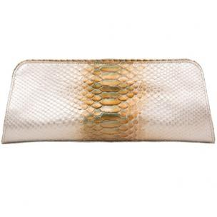 Zelli Kate Genuine Python Clutch Pearl / Gold Image