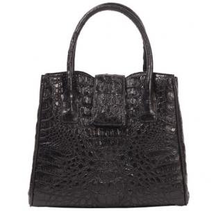 Zelli Lauretta Genuine Crocodile Handbag Black Image