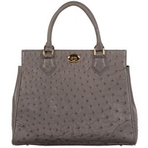 Zelli Mila Genuine Ostrich Handbag Gray Image