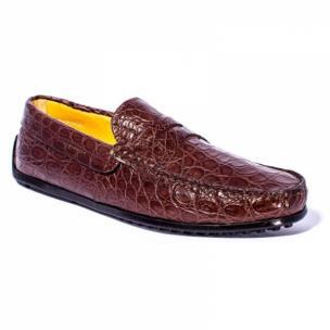 Zelli Monza Caiman Crocodile Driving Loafers Cognac Image