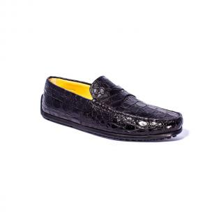 Zelli Monza Caiman Crocodile Driving Loafers Black Image