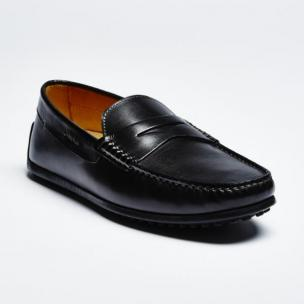 Zelli Monza Calfskin Driving Loafers Black Image
