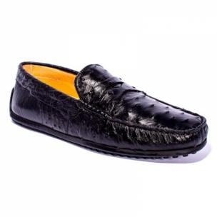 Zelli Monza Ostrich Quill Driving Loafers Black Image