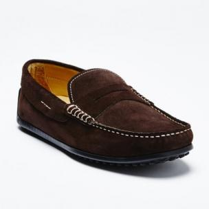 Zelli Monza Suede Driving Loafers Dark Brown Image