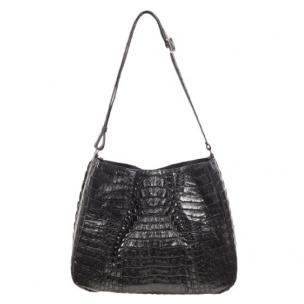 Zelli Nicki Genuine Crocodile Hobo Bag Black Image