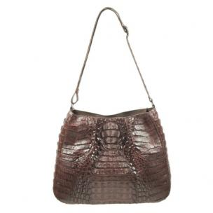 Zelli Nicki Genuine Crocodile Hobo Bag Brown Image