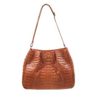Zelli Nicki Genuine Crocodile Hobo Bag Cognac Image
