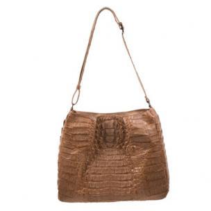 Zelli Nicki Genuine Crocodile Hobo Bag Natural Image