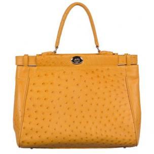 Zelli Paloma Genuine Ostrich Handbag Buttercup Image