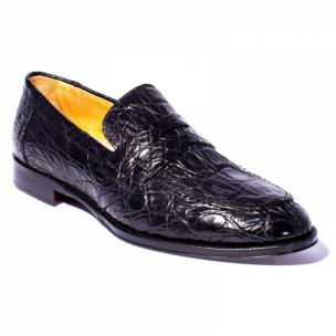 Zelli Roma Caiman Crocodile Penny Loafers Black Image