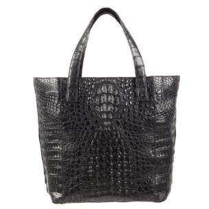 Zelli Savina Genuine Crocodile Tote Bag Black Image