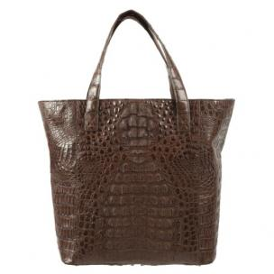 Zelli Savina Genuine Crocodile Tote Bag Brown Image