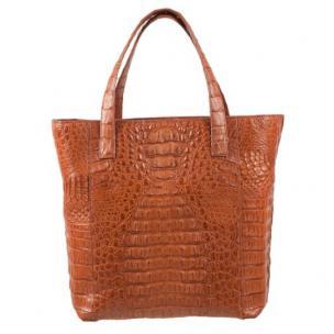 Zelli Savina Genuine Crocodile Tote Bag Cognac Image