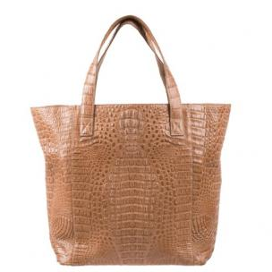 Zelli Savina Genuine Crocodile Tote Bag Natural Image
