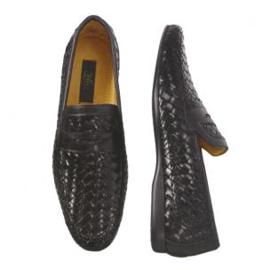 Zelli Domenico Woven Penny Loafers Black Image