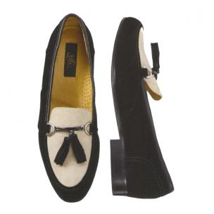 Zelli Salvatore Suede Tassel Loafers Black/White Image