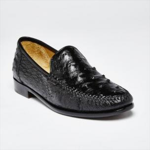 Zelli Struzzo Genuine Ostrich Quill Slip-On Black Image