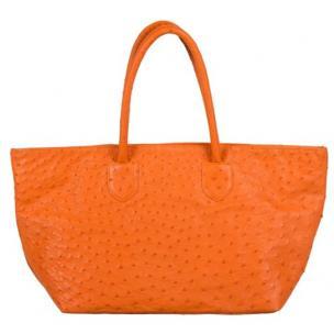Zelli Talia Genuine Ostrich Large Tote Bag Orange Image