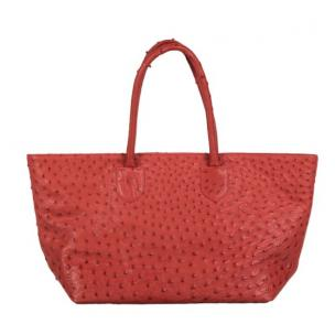 Zelli Talia Genuine Ostrich Large Tote Bag Red Image