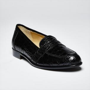 Zelli Tuscany Crocodile Penny Slip-On Black Image